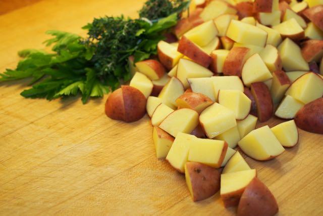 Diced potatoes.