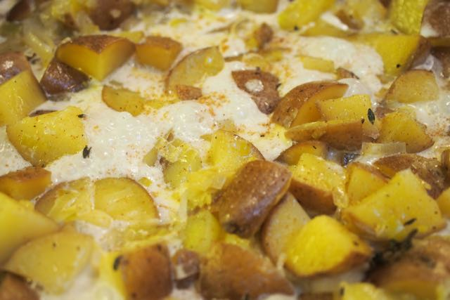 Potatoes, leeks, and cream.