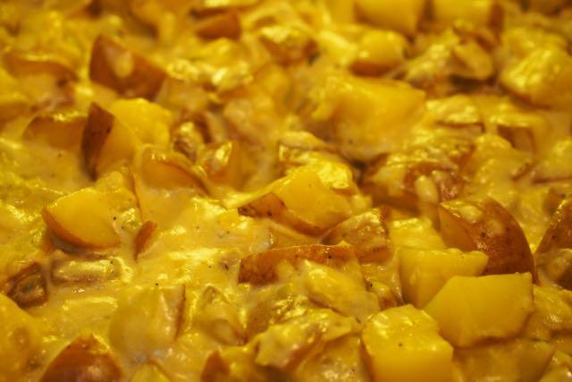 Potatoes, leeks, and cream closeup.