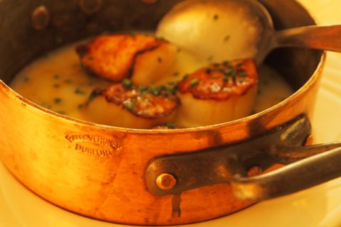 Scallops in Beurre Blanc cooked in Durfort copper pot.