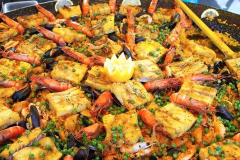 Seafood Paella at the marche.